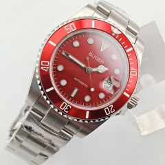 Bliger 40mm red Dial Sapphire Automatic Steel Strap Men's Wristwatches 2779