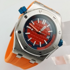 automatic men fashion watch royal oak rubber strap orange position dial luminous luxury watch 42mm steel case Japan miyota 2807