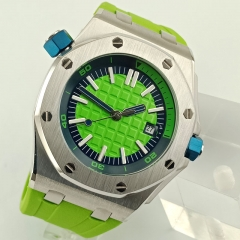 automatic fashion men watch rubber strap green position dial luminous luxury watch stainless steel case Japan miyota movement 2809