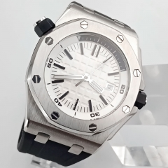 automatic fashion watch 42mm rubber strap luminous hands white position dial luxury watch steel case Japan miyota movement 2806