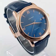 40mm Blue Dial Rose Gold Case Sapphire Glass Date MIYOTA Automatic Men's Watch 2837