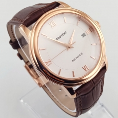 40mm White Dial Rose Gold Case Sapphire Glass Date MIYOTA Automatic Men's Watch 2838