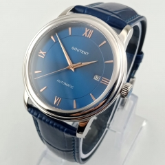 40mm Blue Dial Silver Watchcase Sapphire Glass Date MIYOTA Automatic Men's Watch 2839