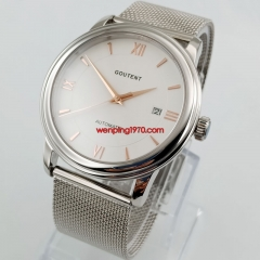 Fomal 40mm White Dial Sapphire Glass Date MIYOTA Automatic Men's Watch 2840
