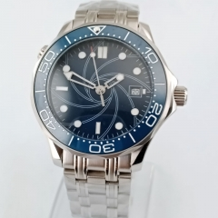 40mm Blue Dial Men's Watch Luminous MIYOTA 8215 Automatic Movement Spiral Patter 2850