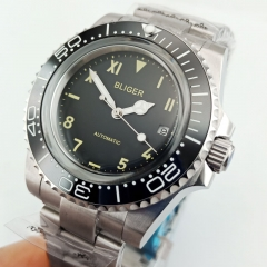40MM Black Big Face Dial Men's Watch Date Luminous Hand Miyota Automatic Watch 2860