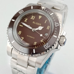 40MM red Dial Men's Watch Date Red Bezel Luminous Hand Miyota Automatic Watch 2857