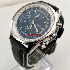 Chronograph watch 46.5mm blue dial black leather strap polisher silver steel case apan Seiko Quartz Movement VK67 2869