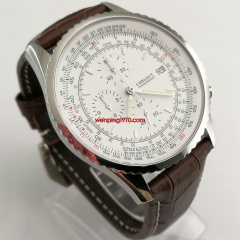 chronograph mens wristwatch 46.5mm leather strap white dial watch 2870