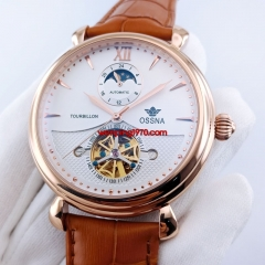 Ossna 45mm rose gold watch case white dial Automatic wrist watches 2876