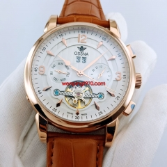 Ossna 44.5mm Steel rose gold case white dial Automatic Date&day mens Watch 2877
