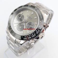 39mm PARNIS gray dial sapphire cermaic bezel full Chronograph quartz mens watch 2880