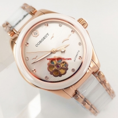 Luxury Dress Sapphire Glass Lady Women Automatic Watch 33mm Rose Gold Case 2898