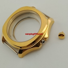 40mm Golden Sapphire Crystal watch Case fit ETA 2836 Miyota 8215 821A P914