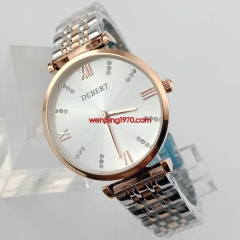 Luxury Quartz Lady/Women Battery Watch With Bracelet Light Gold Plated Case 2905