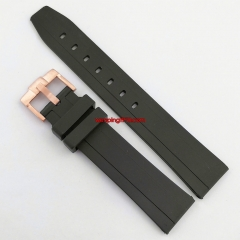 Parnis 20mm black Rubber watch strap with rose gold steel Pin buckle P919
