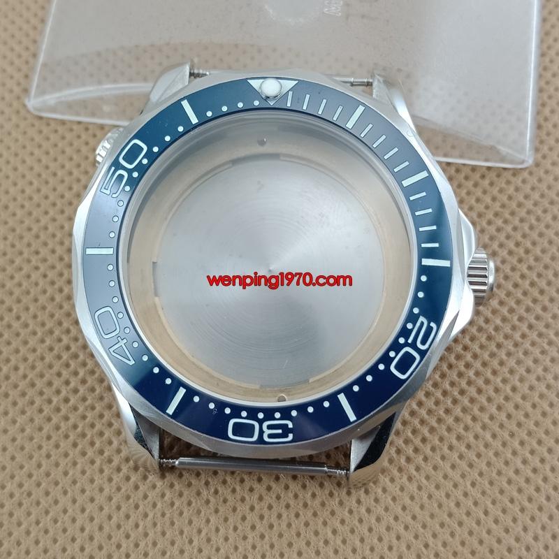 45mm Silver Watch Case Blue/Black Bezel Fit ETA 2836