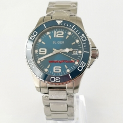 Luxury High Quality Blue dial Mechanical Men's Watch Sapphire Crystal Mental Strap 2935