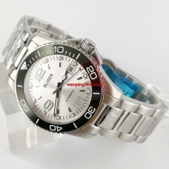 Luxury High Quality White dial Mechanical Men's Watch Sapphire Crystal Mental Strap 2936