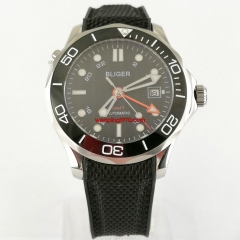 41mm bliger black dial GMT sapphire glass deploymenat clasp automatic mens watch 2938