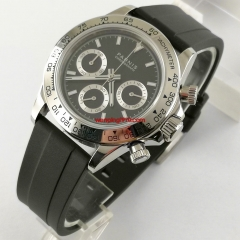 39mm PARNIS black dial sapphire glass rubber strap soild full Chronograph quartz watch 2690-R