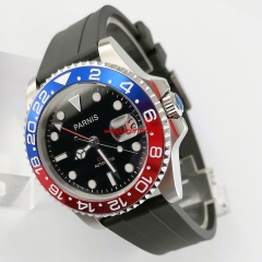 Parnis 40mm sapphire glass Red&Blue Bezel rubber strap GMT-MASTER II Automatic mens Watch 1544-R