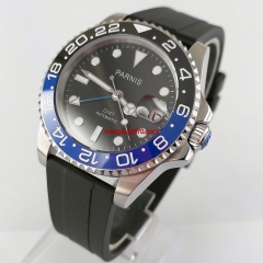 40mm PARNIS black dial luminous ceramic bezel rubber strap Sapphire Glass GMT Automatic watch 2764-R
