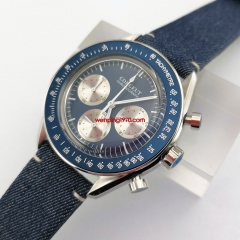 New Luxury Quartz Men's Watch blue dial blue bezel leather strap Chronograph Function 40mm Polished Case 2944