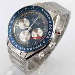 New Luxury Quartz Men's Watch blue dial blue bezel Chronograph Function 40mm Polished Case 2943