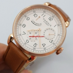 PARNIS Automatic Watch Power Reserve Indicator Wristwatch Rose Gold Case 2970