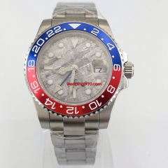 40mm sterile gray dial blue GMT ceramic bezel sapphire glass automatic mens watch 2896N