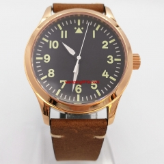 42mm sterile black dial with green marks rose gold case sapphire glass automatic mens watch 2988