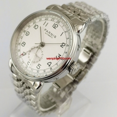 New 42mm PARNIS white dial date GMT Silver strap automatic mens watch 2997