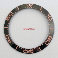 high quality 38mm black watch ceramic bezel insert Fit 40mm mens watches P300-67#