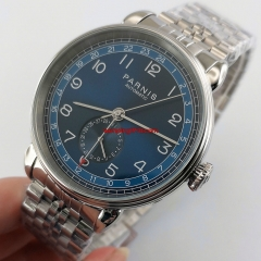 New 42mm PARNIS blue dial date GMT Silver strap automatic mens watch 3000
