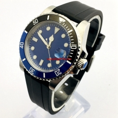 Parnis 40mm sapphire glass ceramic bezel blue sterile dial date window automatic rubber strap mens top business watch 3012