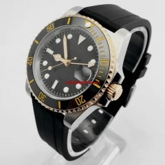 Parnis 40mm sapphire glass ceramic bezel black sterile dial GMT date window automatic rubber strap mens top watch 3011-2
