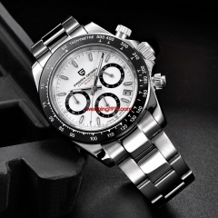 PAGANI Design 2019 Series Classic white Dial Luxury Men Chronograph quartz Watches Stainless Steel Mechanical Watch 3036