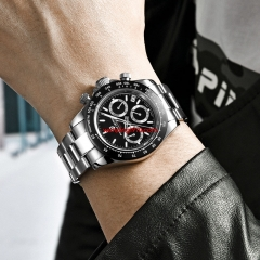 PAGANI Design 2019 Series Classic black Dial Luxury Men Chronograph quartz Watches Stainless Steel Mechanical Watch 3037
