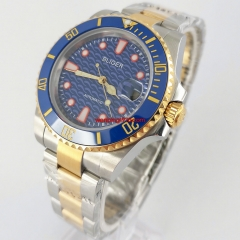 40mm BLIGER blue dial Jubilee gold plated steel strap sapphire glass automatic mens watch 3069