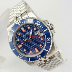 40mm BLIGER blue dial Jubilee steel strap sapphire glass automatic mens watch 3067
