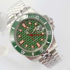 40mm BLIGER green dial Jubilee steel strap sapphire glass automatic mens watch 3068