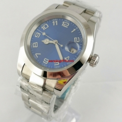 40mm blue dial number luminous date sapphire glass automatic mens watch Gift 3114-N