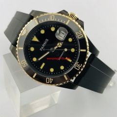 40mm Parnis Black PVD Case Black Dial Sapphire Glass Luminous Marks Luxury Brand Automatic Movement Men's Watch