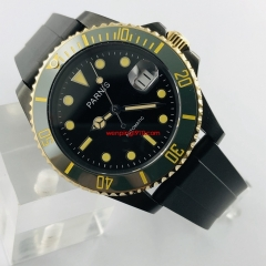 40mm Parnis Black PVD Case Black Dial Sapphire Glass Luminous Marks Luxury Brand Automatic Movement Men's Watch 3121