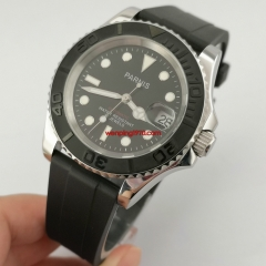 Parnis 41mm black dial Ceramic bezel rubber strap automatic mens gift watch