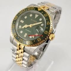 40mm Bliger Design Brand Luxury green GMT hands dial Watch Automatic Watch GMT Stainless jubilee Sapphire Ceramic Bezel Mechanical Mens Watch