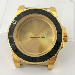 Sapphire 40mm yellow gold plated watch Case black ceramic bezel Fit ETA 2836,DG2813/3804 Miyota 8215 8205 821A 8200 movement