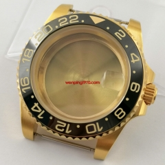 Sapphire 40mm yellow gold plated watch Case black GMT ceramic bezel Fit ETA 2836,DG2813/3804 Miyota 8215 8205 821A 8200 movement