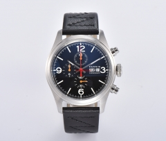 42mm PARNIS black dial strap week day Miyota OS00 movement full Chronograph quartz mens watch Multifunction